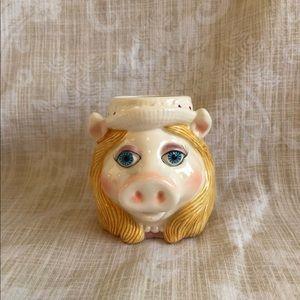 80s 90s Miss Piggy Ceramic Mug Muppets Floral Hat